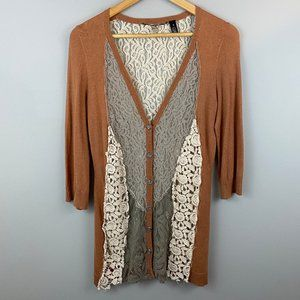 Anthropologie Knitted and Knitted Cardigan Lace S